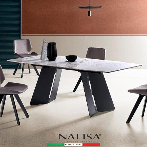 NATISA  PINKO  GNE GCAL TABLE  2200L CALACATTA GLOSSY 핀코 포셀린세라믹 다이닝테이블  (100% ITALY)