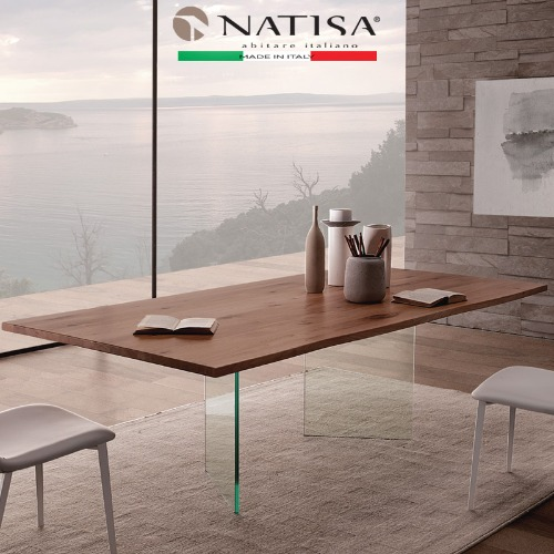 NATISA  LIGHT  VTE NUT TABLE 2000L,2200L 라이트 너트 다이닝테이블  (100% ITALY)