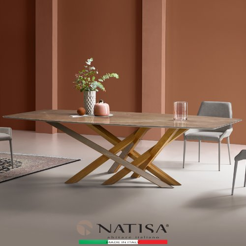 NATISA  CROSS RNO GBRL 2500L  PULPIS BROWN GLOSSY 크로스 포셀린세라믹 다이닝테이블  (100% ITALY)